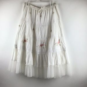 Cotton Embroidered Tiered Tulle Ruffle Skirt L-1X